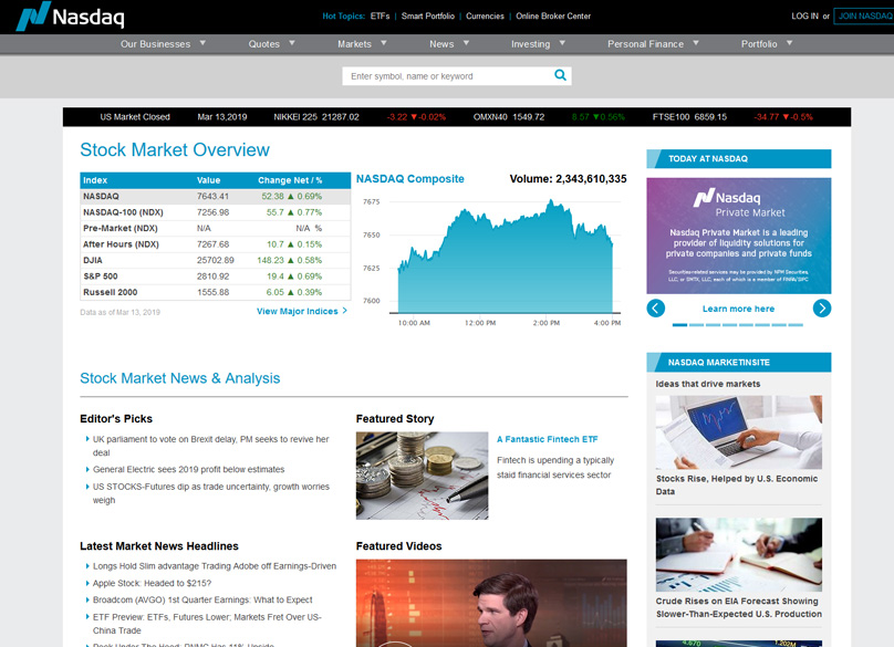 NASDAQ Website