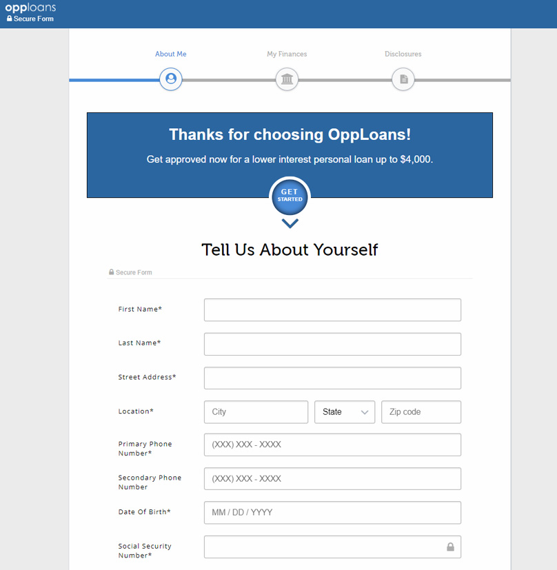 Opploans Signup