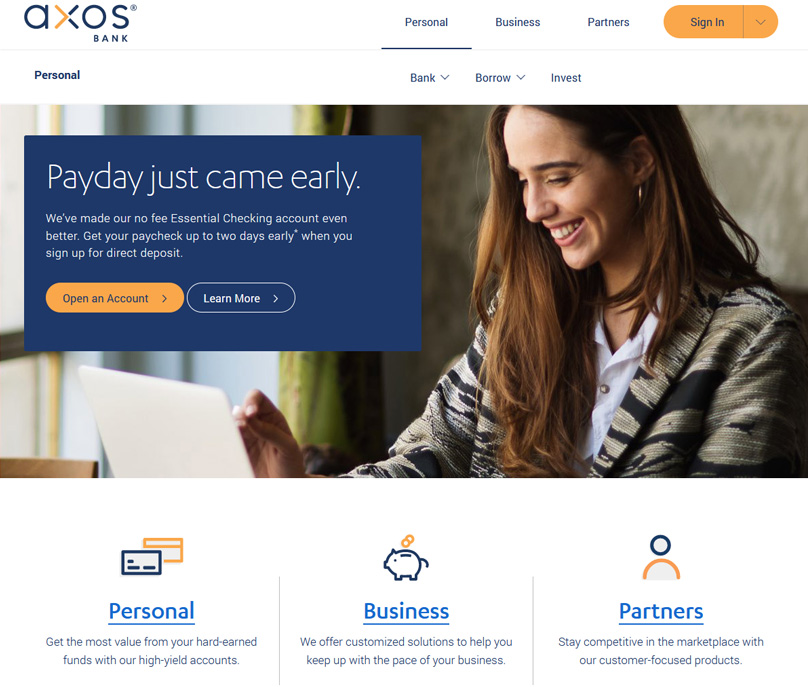 Axos Bank Website