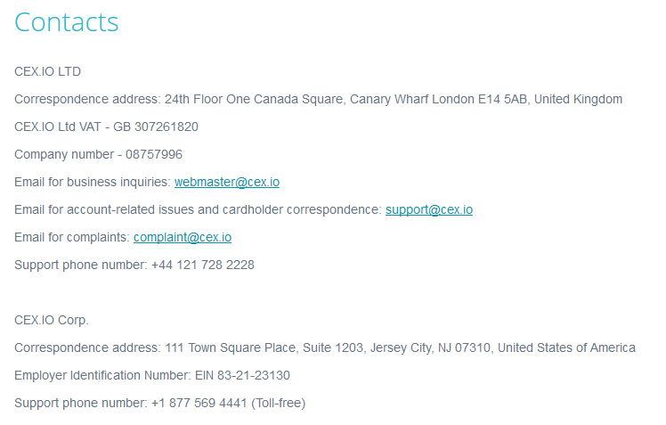 CEX.io Contact Details
