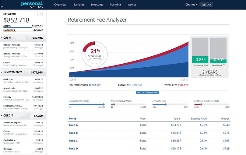 Easily view any fees within the Dashboard