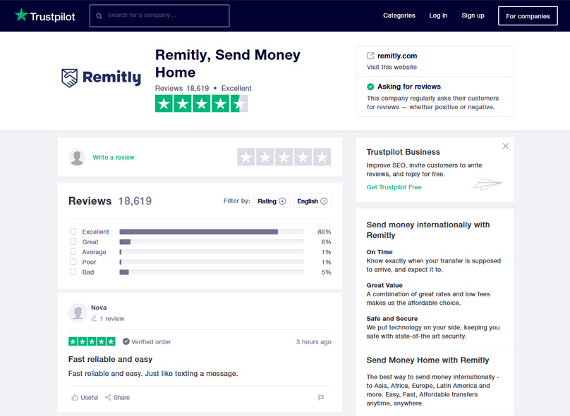 Remitly Customer Reviews