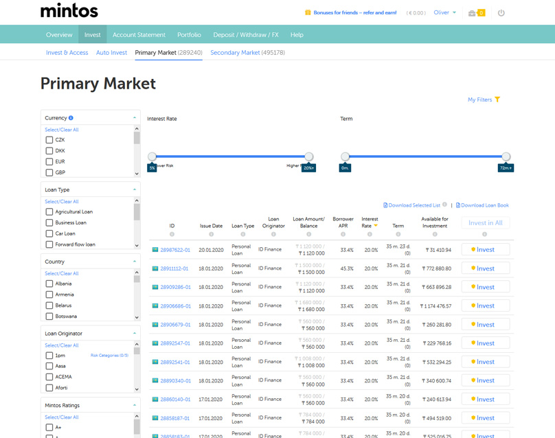 Primary market page