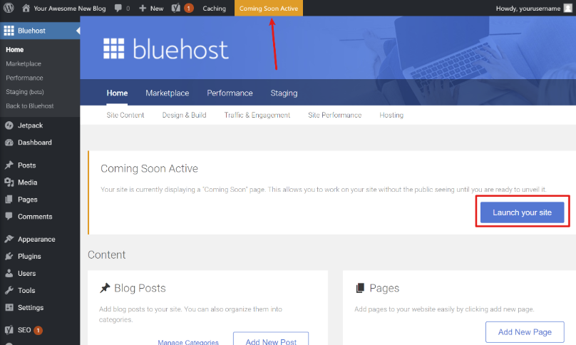 How to start a blog and go out of Bluehost coming soon mode