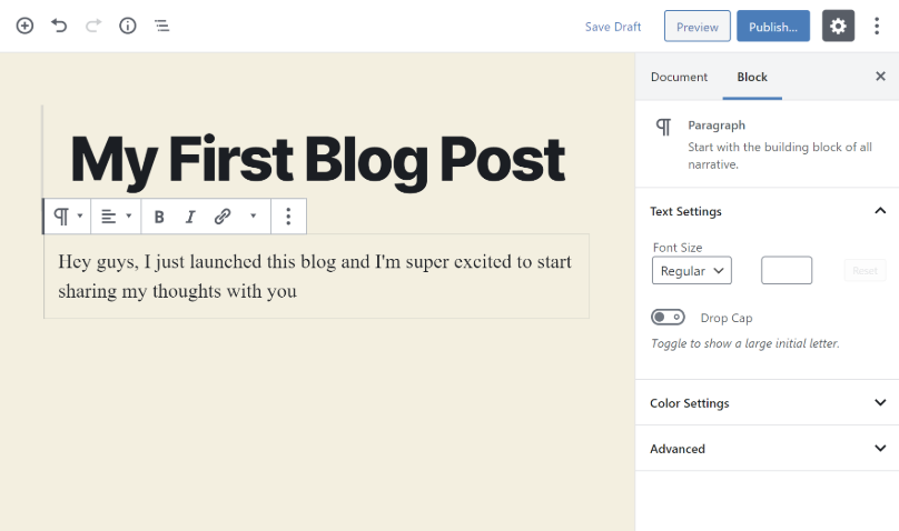 Adding text to your blog