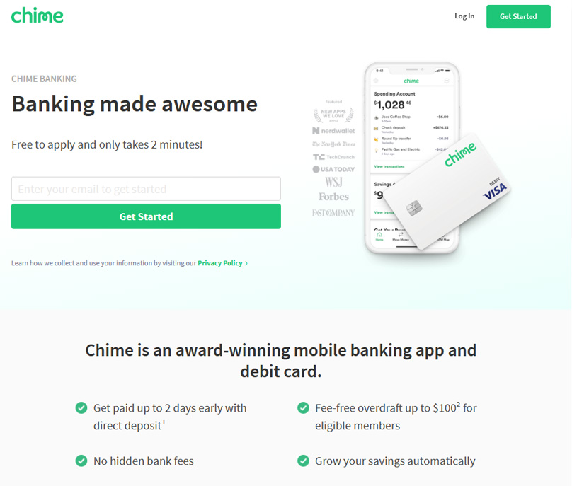 Chime Bank Homepage