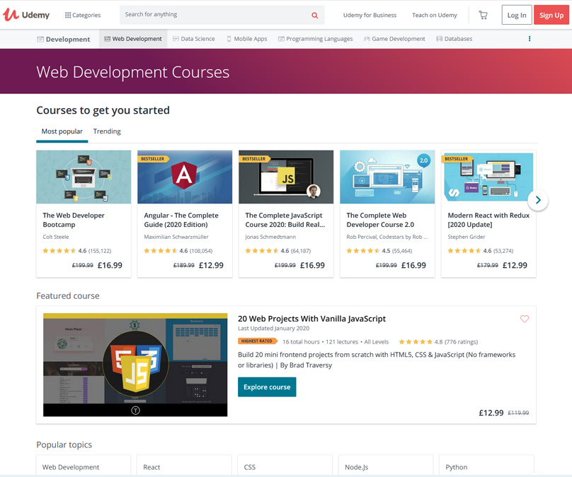 Some of the Web Development Courses on offer