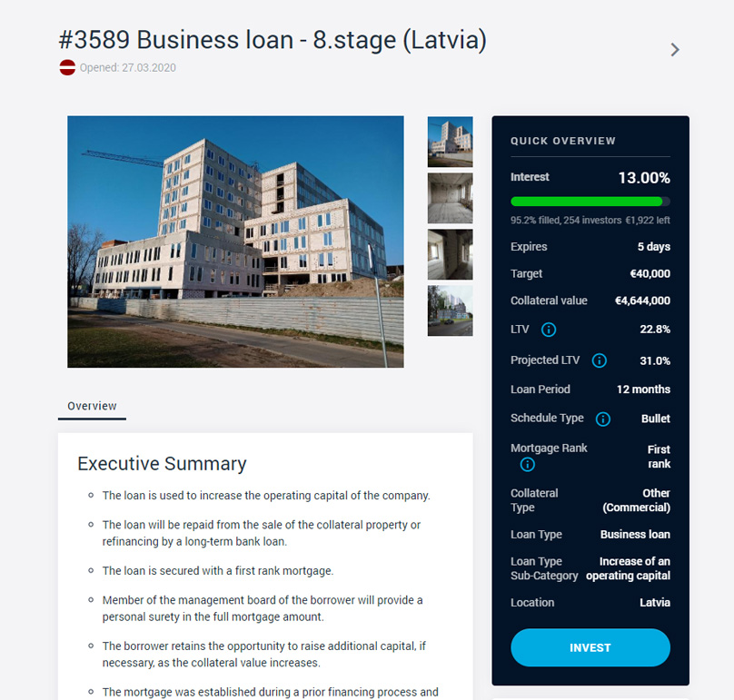 Each loan has a detailed information page