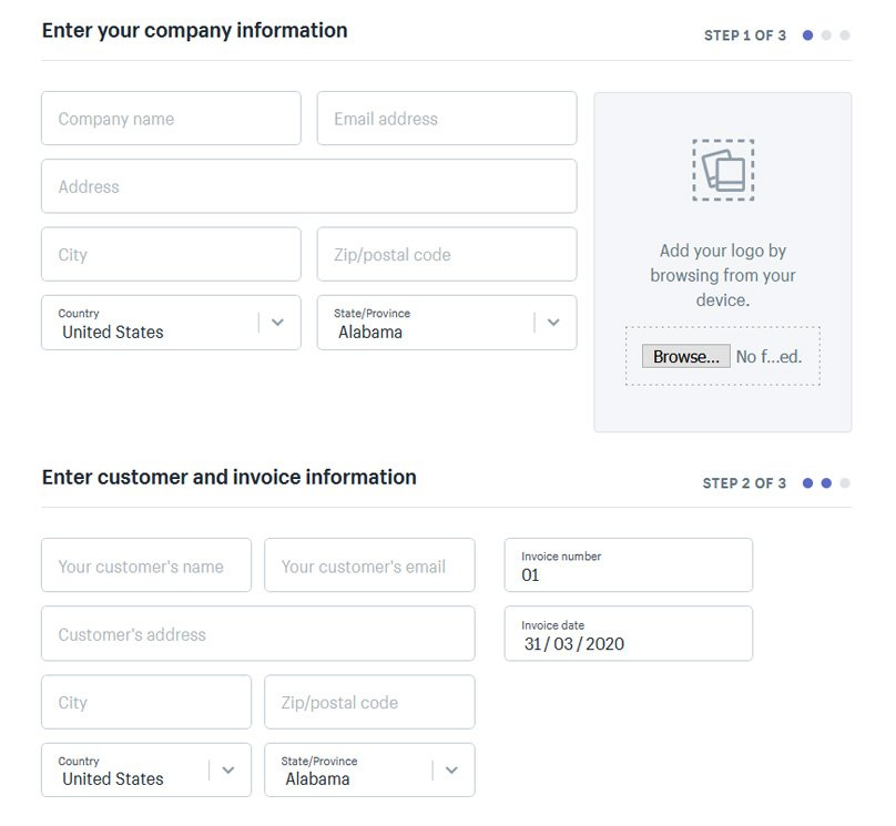 Create invoices and accept payments via the Shopify admin area