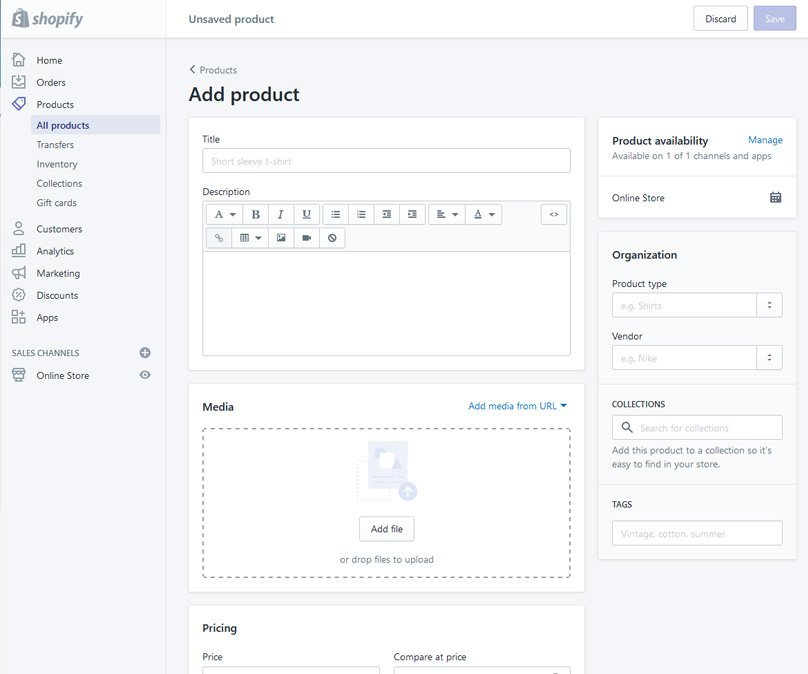 The shopify dashboard is clean & easy to use.