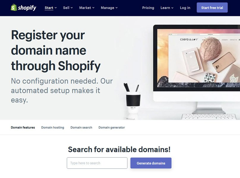Shopify comes with a domain name generator if you are stuck for ideas.