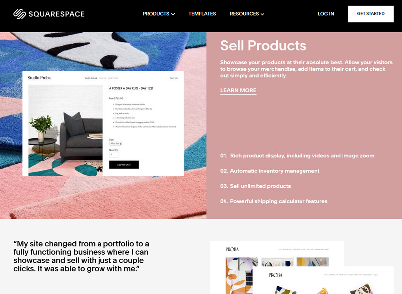 Squarespace lets you sell products & services