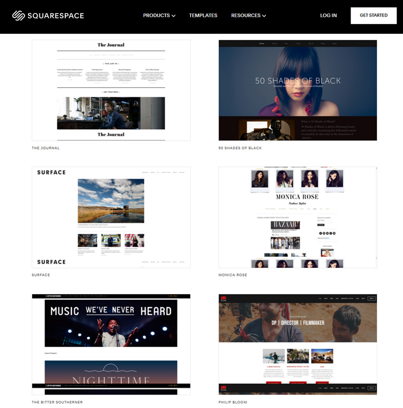 Squarespace has some great looking templates