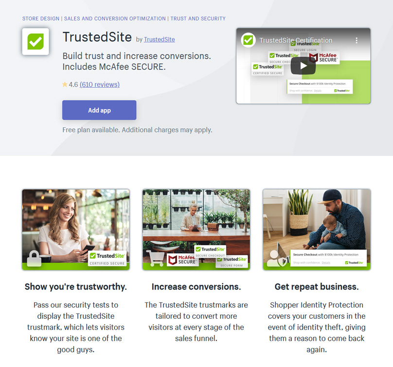 Build trust and increase conversions. Includes McAfee SECURE.