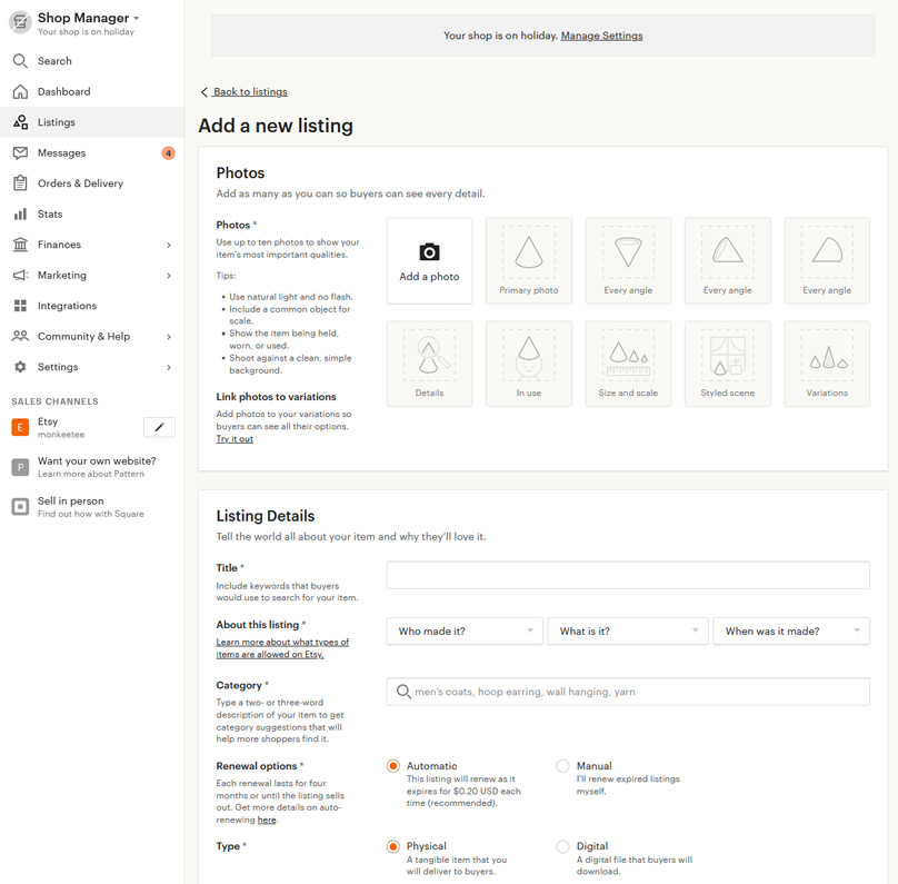 Etsy has a great sellers dashboard