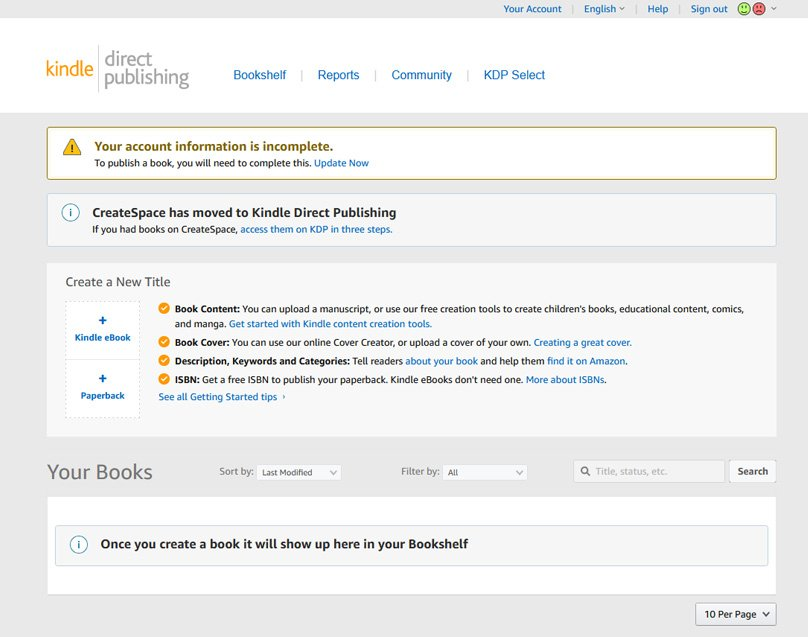 Self-publish eBooks and paperbacks for free with Kindle Direct Publishing